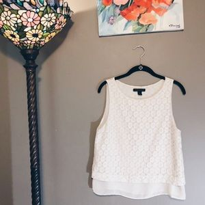 Banana Republic white sheer and lace top